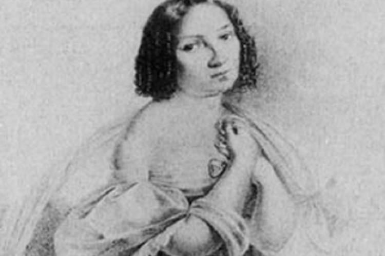 Déryné Széppataki Róza (Pap Károly litográfiája, 1834, részlet)