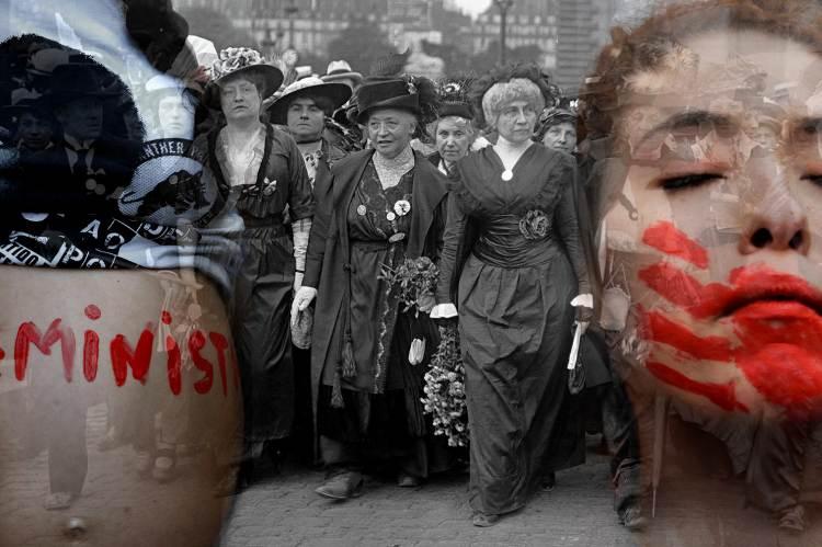 Feminista mozgalmak a múltban és most. Fotó: MN-montázs / AFP