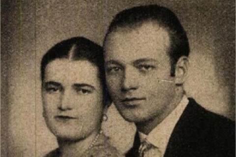 Róna Emy vőlegényével, Deckmann Gyula tisztviselővel (1929, Színházi Élet)