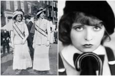 Szüfrazsettek és Clara Bow, színésznő, vörös rúzzsal